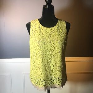 Ann Taylor Yellow Lace Shell with Nude lining. 💛
